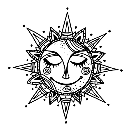 Illustration pour Hand drawn summer sun tribal background. Ornamental decoration, mandala, ethno, vintage ornament. - image libre de droit