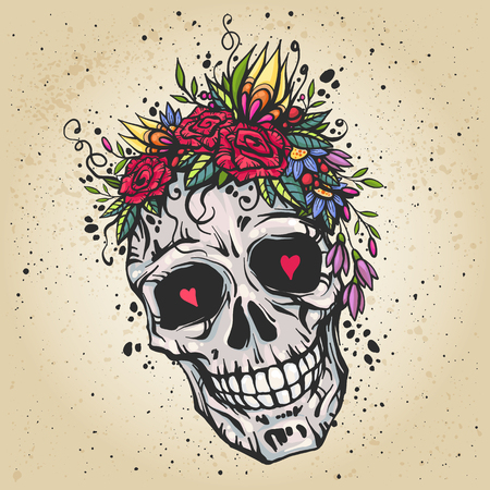 Illustration pour Human skull with flower wreath of roses and wild flowers. Beautiful bohemian chic vector illustration. Colorful boho skull t-shirt print. Old school tattoo design. - image libre de droit