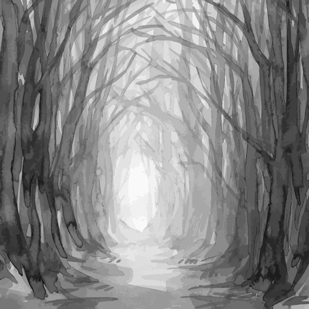 Illustration pour Woodland path, ghostly forest trail, watercolor illustration. Old trees, enchanted forest, into the woods vector background. - image libre de droit