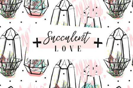 Hand drawn vector abstract creative header with succulents flower,cacti plants in terrariums and modern calligraphy quote Succulents love isolated on white background.Wedding,save the date,birthday.