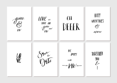 Hand made vector graphic simple Valentines day greeting card set with romantic rough ink calligraphy phases and quotes isolated on white background.Design element,funny quotes for couple