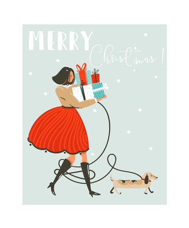 Ilustración de Hand drawn vector abstract fun Merry Christmas time cartoon illustration greeting card with girl in dress,dog and many surprise gift boxes on sleigh isolated on blue background - Imagen libre de derechos