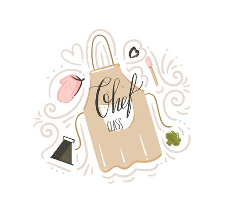 Illustration for Hand drawn vector abstract modern cartoon cooking class illustrations poster badge with cooking apron,utensils and Chef class handwritten modern calligraphy isolated on white background - Royalty Free Image