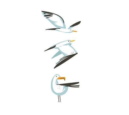 Ilustración de Hand drawn vector abstract cartoon summer time graphic decoration illustrations collection set art with flying sea gulls birds isolated on white background. - Imagen libre de derechos
