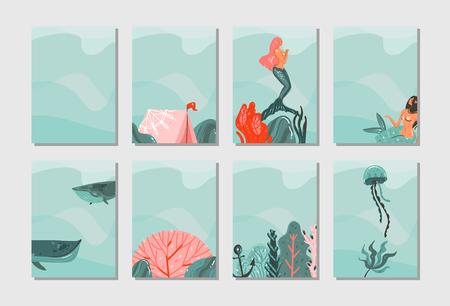 Illustration pour Hand drawn vector abstract graphic cartoon summer time flat illustrations cards template collection set with mermaid, whale and tropical underwater world isolated on blue waves background. - image libre de droit