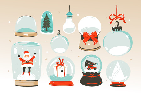 Ilustración de Hand drawn vector abstract Merry Christmas and Happy New Year time big cartoon snow globe sphere illustrations collection set isolated on white background. - Imagen libre de derechos