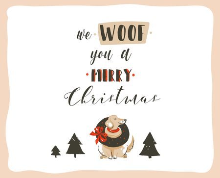Hand drawn vector abstract fun Merry Christmas time cartoon illustrations poster with xmas dogs and modern handwritten calligraphy text We Woof you a Merry Christmas isolated on white background.