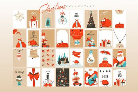 Ilustración de Hand drawn vector abstract fun Merry Christmas time cartoon illustrations greeting cards template and backgrounds big collection set with gift boxes,people and Xmas tree isolated on white background. - Imagen libre de derechos
