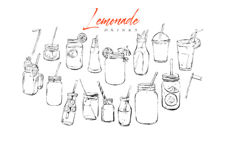Illustration pour Hand drawn vector graphic textured artistic bar menu ink collection set sketch illustrations drawing bundle of organic natural lemonade cocktails drinks in glass isolated on white background. - image libre de droit