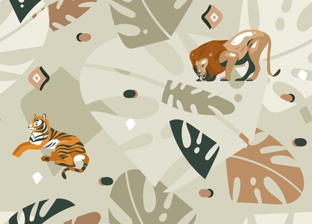 Ilustración de Hand drawn vector abstract modern graphic African Safari Nature ornamental tribal illustrations art collage seamless pattern with tigers,lion and palm leaves isolated on pastel background - Imagen libre de derechos