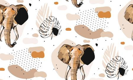 Illustration pour Hand drawn vector abstract creative graphic artistic illustrations seamless collage pattern with sketch elephant drawing and tropical palm leaves in tribal mottif isolated on white background - image libre de droit