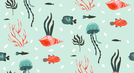 Illustration pour Hand drawn vector abstract cartoon graphic summer time underwater illustrations seamless pattern with coral reefs,jellyfish,seahorse and different fishes isolated on white background - image libre de droit