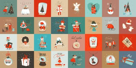 Illustration pour Hand drawn vector abstract fun Merry Christmas time cartoon cards collection set with cute illustrations,surprise gift boxes and handwritten modern calligraphy text isolated on colored background - image libre de droit