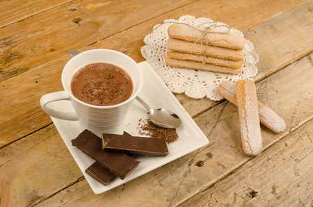 Hot chocolate and fresh ladyfinger biscuits to dunk  with.