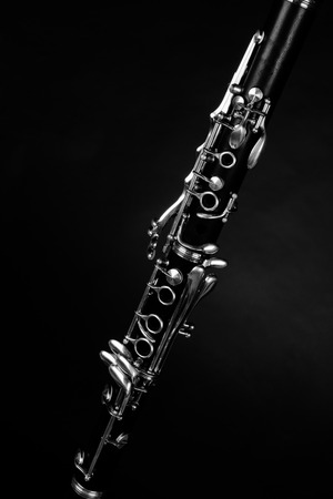 Photo pour Detail take of a clarinet and its  keys - image libre de droit