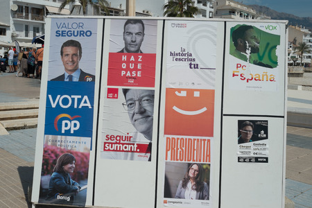 VALENCIA, SPAIN- April 11, 2019: Political campaign poster depicting left wing presidential candidate  Pedro Sanchez