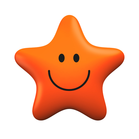 Red smiling star isolater on white background