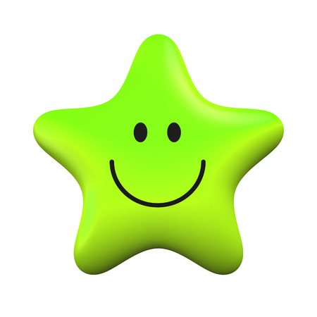 Green smiling star isolater on white background