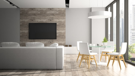 Photo pour Modern interior with fout white chairs 3D rendering - image libre de droit