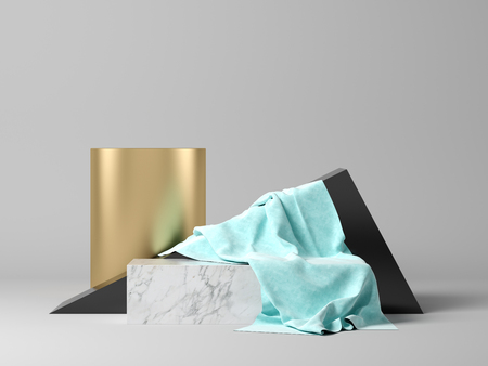 Foto de Abstract geometric shape on grey 3 d rendering - Imagen libre de derechos