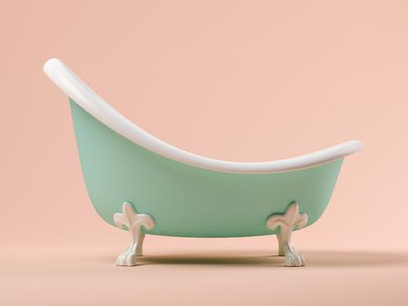Vintage blue bathtub on pink background 3 D illustration