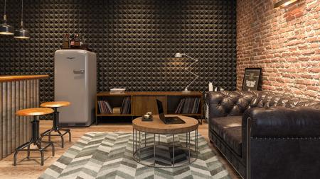 Foto de Interior of modern man living room with bar 3 D rendering - Imagen libre de derechos