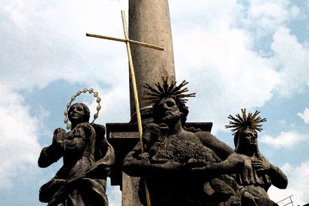 Artistic Fresco Catholic Statue Background