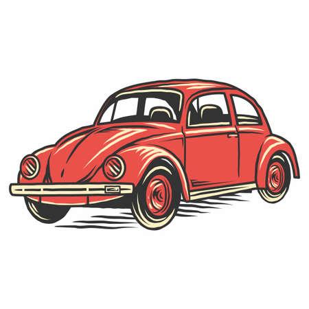 Illustration pour Retro vintage old car illustration - image libre de droit