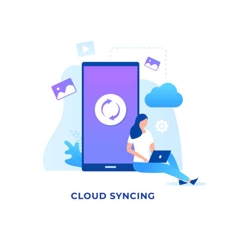 Illustration pour Cloud syncing illustration concept. Illustration for websites, landing pages, mobile applications, posters and banners - image libre de droit