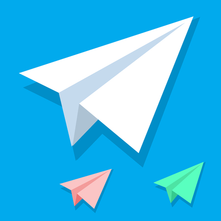 Illustration pour Handmade white paper plane vector icon set in isometric flat style isolated on blue background. Origami white orange and green airplane collection. Eps10 - image libre de droit