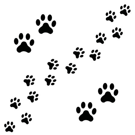 Photo pour Black Footpath trail of dog prints walking randomly. Animal footprints, dog or cat paws print isolated on white background. Vector illustration of footprint silhouette. - image libre de droit