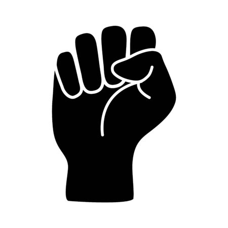 Illustration pour Raised black fist vecor icon. Victory, rebel symbol in protest or riot gesture symbol. Simple flat black and white pictogram illustration - image libre de droit