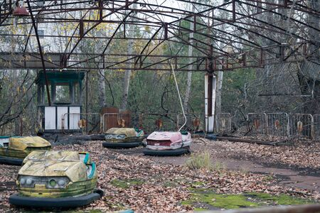 Photo for Amusement park with electric cars in Pripyat in Chernobyl - Royalty Free Image