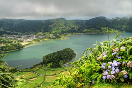 View of the crater lake Lagoa Azul at Sao Miguel (Azores islands)