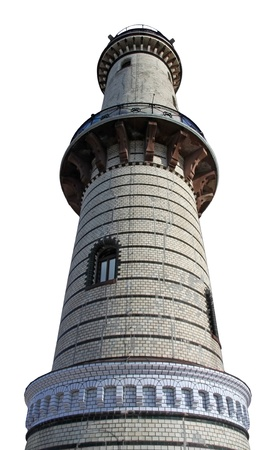 light tower of Warnemuende (Germany), isolated on white background