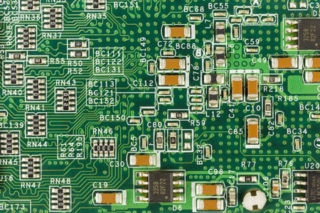 green circuit board with elements