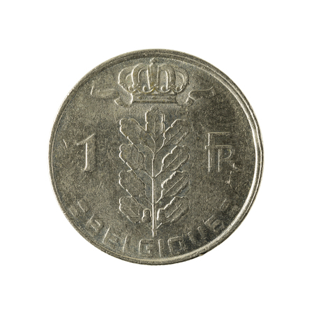 one belgian franc coin (1978) isolated on white background