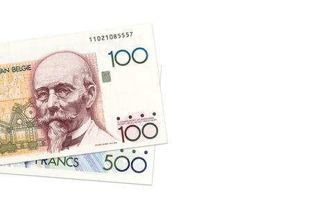 some belgian franc bank notes