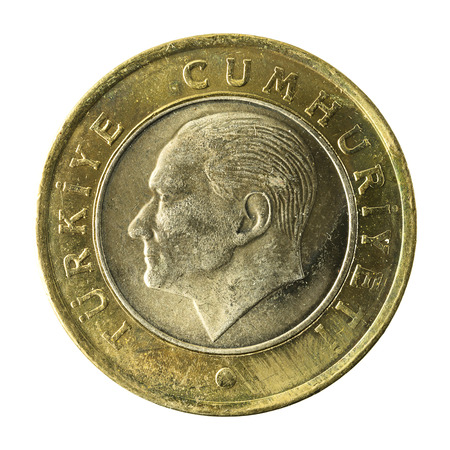 1 turkish lira coin (2009) reverse isolated on white background