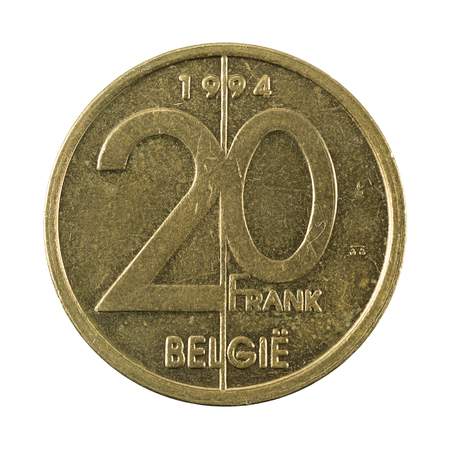 20 belgian franc coin (1994) obverse isolated on white background