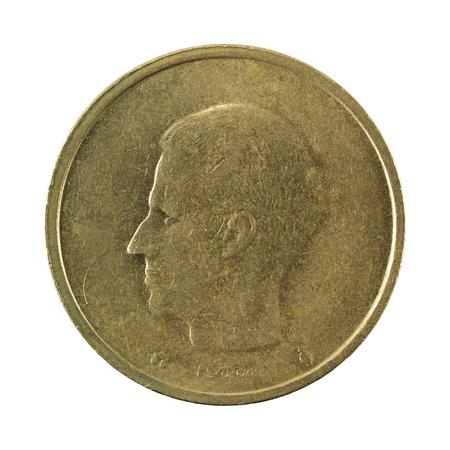 20 belgian franc coin (1993) reverse isolated on white background