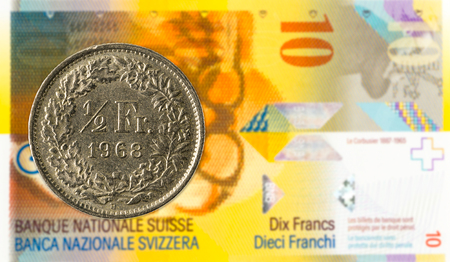 0,5 swiss franc coin against 10 swiss franc bank note
