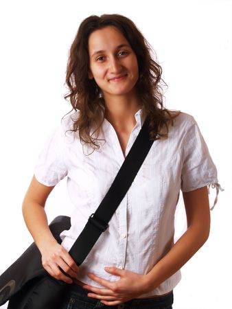 Young woman wearing a laptop bag and smiling