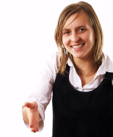 Woman holding hand out and smiling