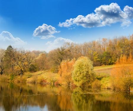 Autumn landscape on the bank of lake
