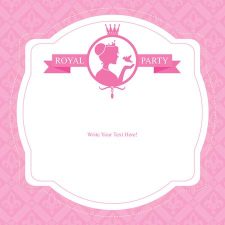 Illustration for birthday princess card invitation - Royalty Free Image