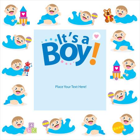 Illustration pour baby boy greeting card - image libre de droit