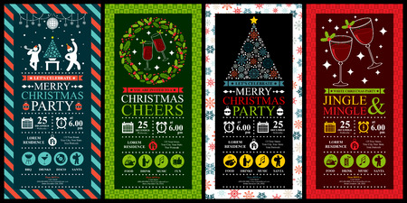 Illustration pour Christmas Party Invitation Card Sets - image libre de droit