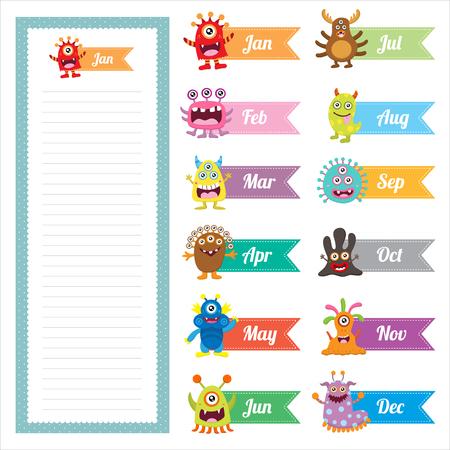 Cute Monster Diary Memo