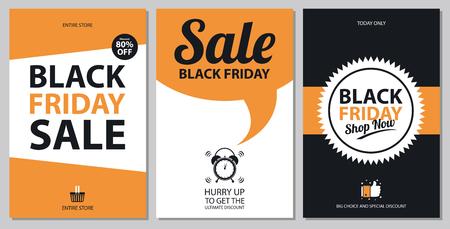 Illustration pour Black friday sale card sets - image libre de droit